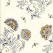 Moda - Bee Joyful - 6489 - Stylised Floral with Bees on Cream - 19871 15 - Cotton Fabric